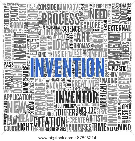 Close up INVENTION Text at the Center of Word Tag Cloud on White Background.