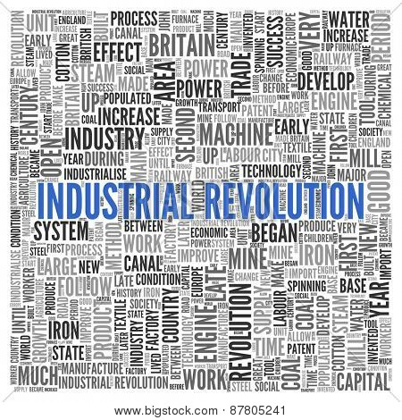 Close up INDUSTRIAL REVOLUTION Text at the Center of Word Tag Cloud on White Background.