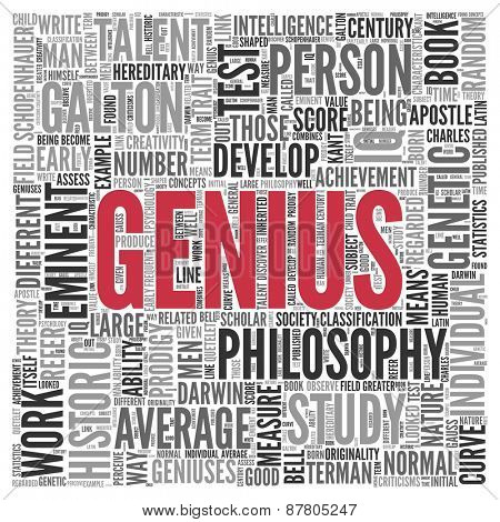 Close up GENIUS Text at the Center of Word Tag Cloud on White Background.