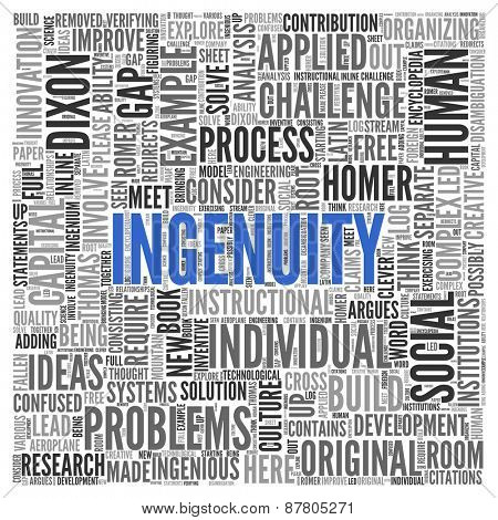Close up INGENUITY Text at the Center of Word Tag Cloud on White Background.