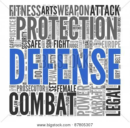 Close up DEFENSE Text at the Center of Word Tag Cloud on White Background.