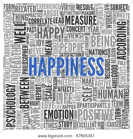 Close up HAPPINESS Text at the Center of Word Tag Cloud on White Background.