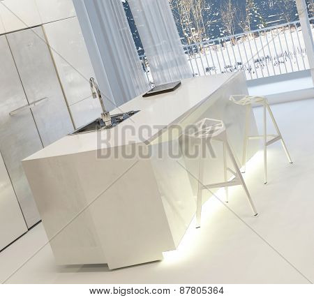 Modern White Kitchen with Illuminated Island and Stools Inside Home in Winter. 3d Rendering.