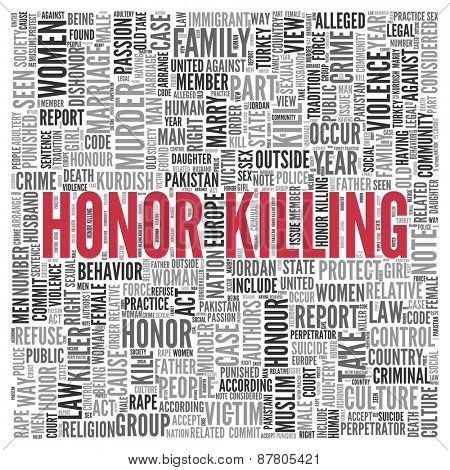 Close up HONOR KILLING Text at the Center of Word Tag Cloud on White Background.