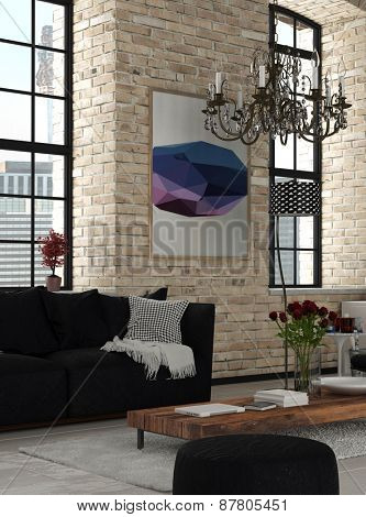 Elegant Furniture at Modern Architectural Lounge Room with Chandelier Hanging on Top and Artwork on the Wall. 3d Rendering.