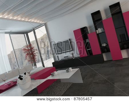 Attractive Modern Architectural Living Room Design with Glass Windows, Styled with Dark Pink, Black and White Furniture.. 3d Rendering.
