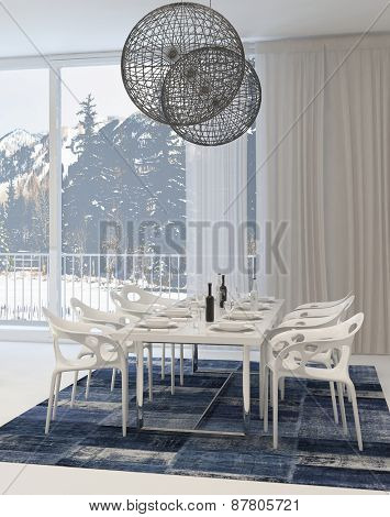 Modern Dining Room with White Table and Chairs and Globe Light Fixtures and View of Snowy Mountains Through Windows. 3d Rendering.