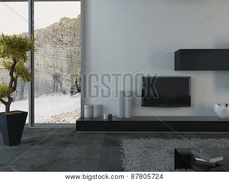 Modern Living Room with Flat Screen Television and House Plant and View of Cliffs Through Window. 3d Rendering.