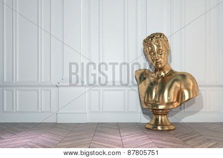 Gold bust statue standing on a herringbone parquet floor in a classic vintage interior with wainscoting and paneling on the white walls. 3d Rendering.