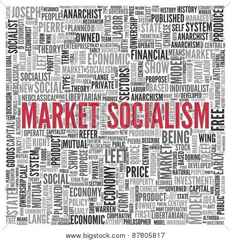 Close up Red MARKET SOCIALISM Text at the Center of Word Tag Cloud on White Background.