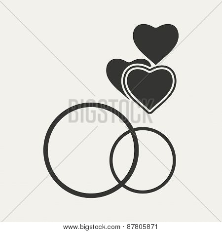 Flat in black and white mobile application rings hearts