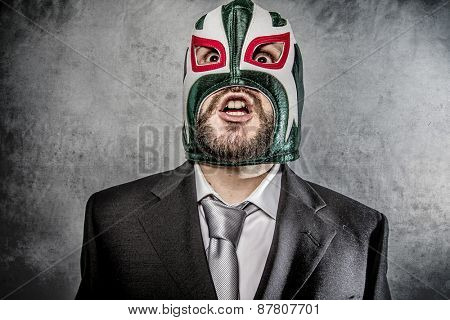 Trouble, businessman angry with Mexican wrestler mask