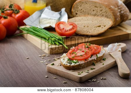 Healthy Breakfast - Homemade Beer Bread With Cheese, Tomatoes And Chives