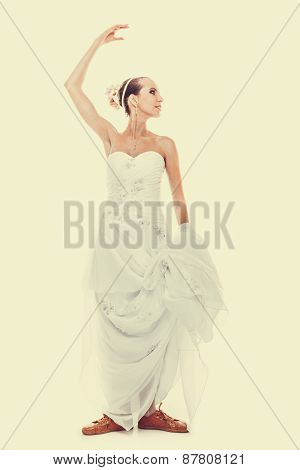 Wedding. Running Bride Funny Woman In Sport Shoes
