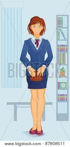 cartoon white-collar woman