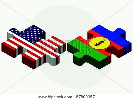 Usa And New Caledonia Flags In Puzzle