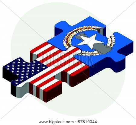 Usa And Northern Mariana Islands Flags In Puzzle