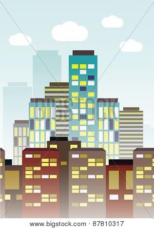 Flat modern city and transport. Vector illustration