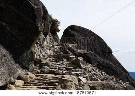 Stone Staircase Carved Into Granite Rock Trail