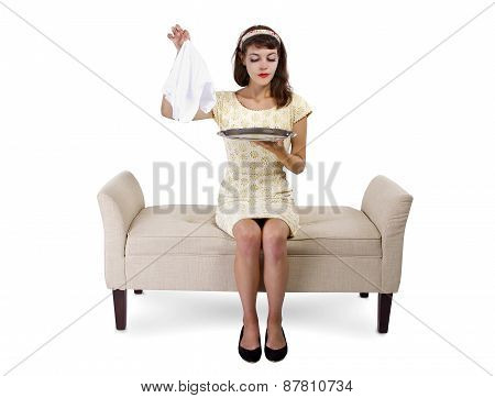 Woman Hiding a Surprise on a Tray