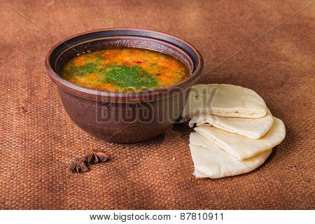 Oriental soup. Eastern food