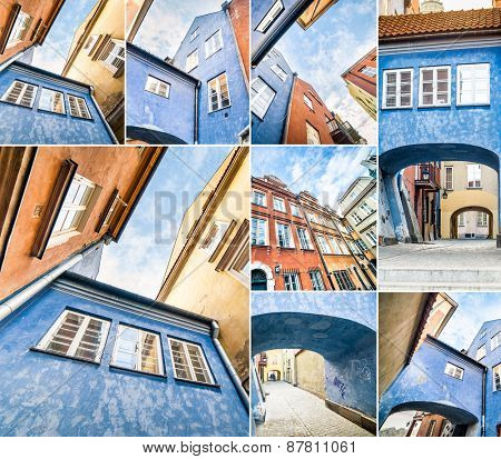 photo collage of arches in the houses of Warsaw