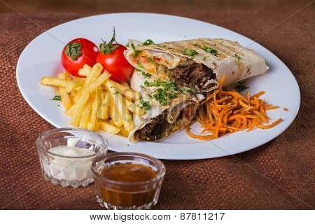 Shawarma. Eastern food. Arab food.