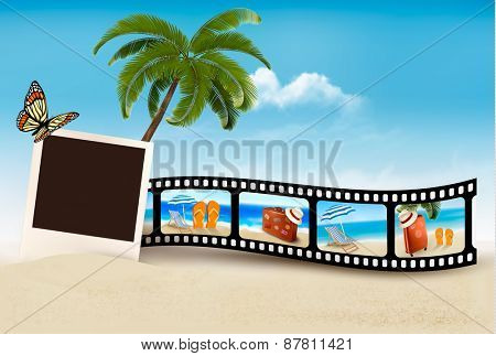 Vacation film tape on a beach.