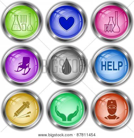Medical set. Raster internet buttons.