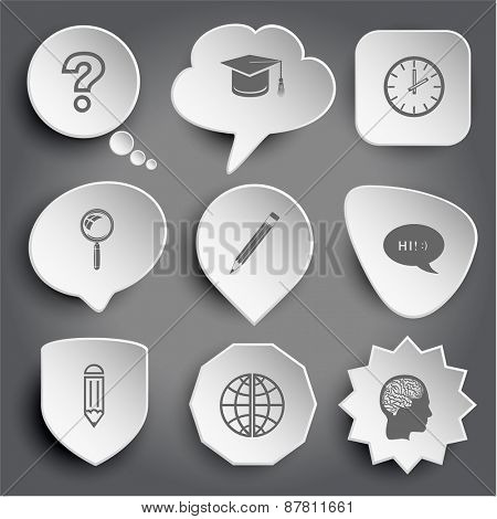 query sign, graduation cap, clock, magnifying glass, pencil, chat symbol, globe, human brain. White raster buttons on gray.