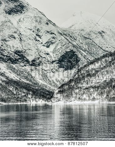 Beautiful mountain landscape with the Norwegian fjords in winter