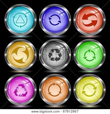 Recycle symbols set. Internet button. Raster illustration.