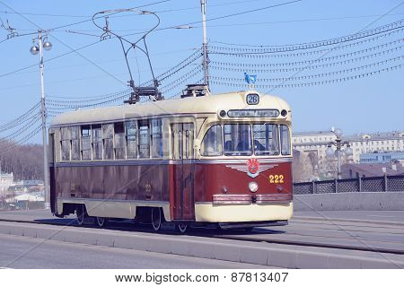 Vintage Tram On The Empty Town Street.