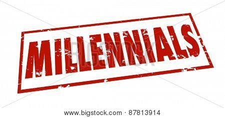 Millennials word stamped grunge style in red ink to classify, group or divide an age category of youth for marketing or demographic study or research
