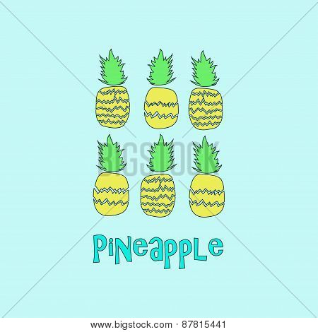 Vintage colourful Pineapple