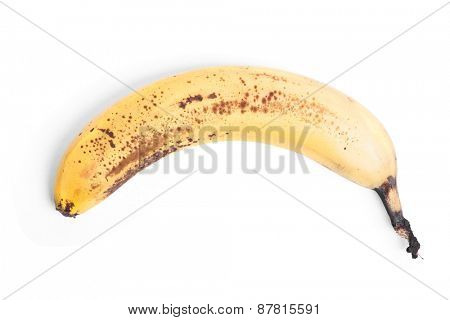 Rotten banana isolated on white background