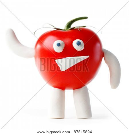 Funny tomato mascot waving you isolated on white background