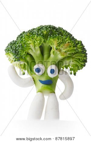 Funny broccoli mascot waving you isolated on white background
