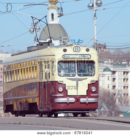 Vintage Tram On The Central City Street.