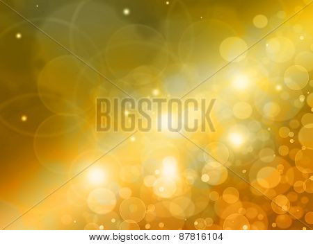 Abstract Background - Bright Lights In Darkness, Bright Gold Lights