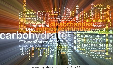 Background text pattern concept wordcloud illustration of carbohydrate glowing light
