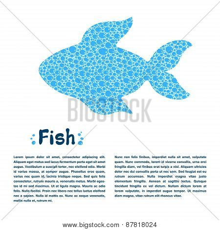 Blue water bubble textured fish design template, vector