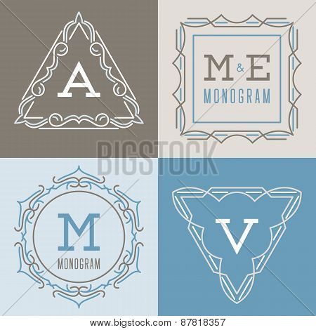 Set of logos templates in mono line style.