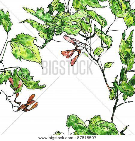 seamless pattern maple twig