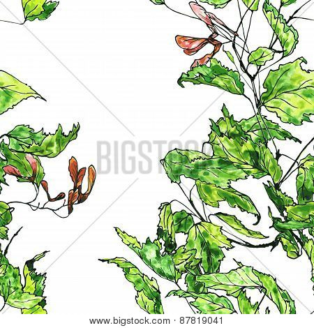 seamless pattern maple twig