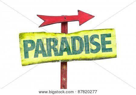 Paradise sign isolated on white