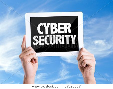 Tablet pc with text Cyber Security with sky background
