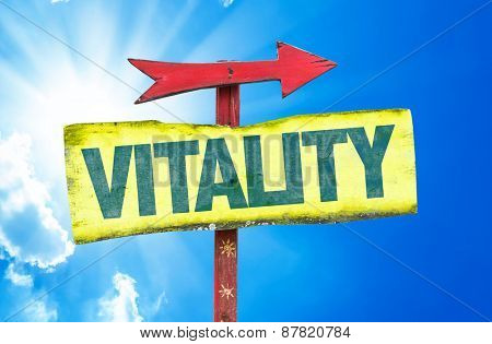 Vitality sign with sky background