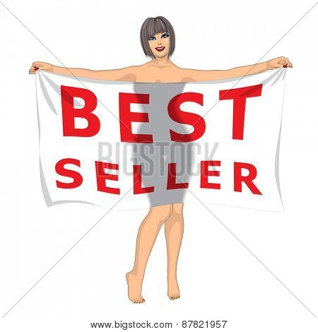Sexy Girl Behind the Best Seller Banner