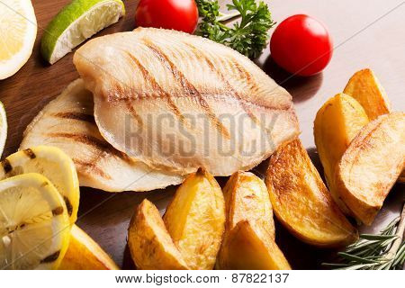 Fried Halibut With Vegetables